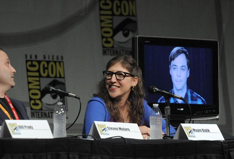 """Mayim Bialik attends the """"Big Bang Theory"""" Panel panel at Comic-Con on Thursday, July 12, 2012 in San Diego, Calif. (Photo by Jordan Straus/Invision/AP)"""