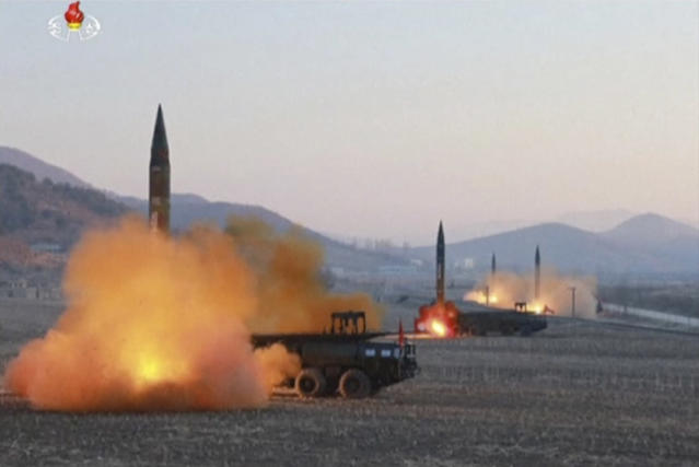 <p>In this image made from video released by KRT on Tuesday, March 7, 2017, North Korea launches four missiles in an undisclosed location North Korea. On Monday, North Korea fired four ballistic missiles in an apparent protest against ongoing U.S.-South Korean military drills that it views as an invasion rehearsal. (KRT via AP Video) </p>