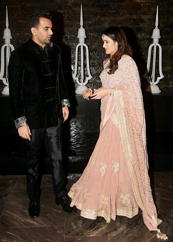 <p>Zaheer Khan and Sagarika Ghatge's wedding reception </p>
