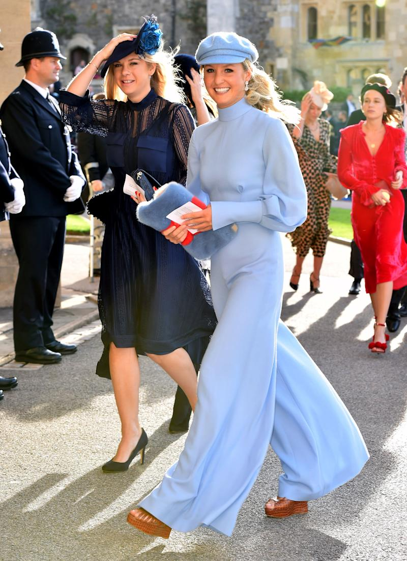 Chelsy Davy arrives ahead of the wedding of Princess Eugenie of York to Jack Brooksbank at Windsor Castle on October 12, 2018, in Windsor, England.