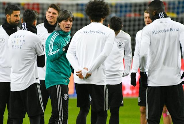 "Germany's headcoach Joachim Loew said the 1-1 draw with Spaint was a test in which ""we were able to learn a lot"" ahead of the World Cup (AFP Photo/Patrik STOLLARZ)"