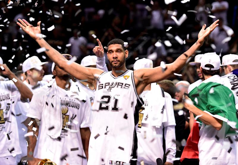 Tim Duncan celebrates the last of his five NBA championships in 2014. (USA Today Sports / Reuters)