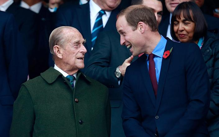 Prince Phillip and Prince William enjoy the build up to the 2015 Rugby World Cup Final match between New Zealand and Australia - Phil Walter/Getty Images Europe