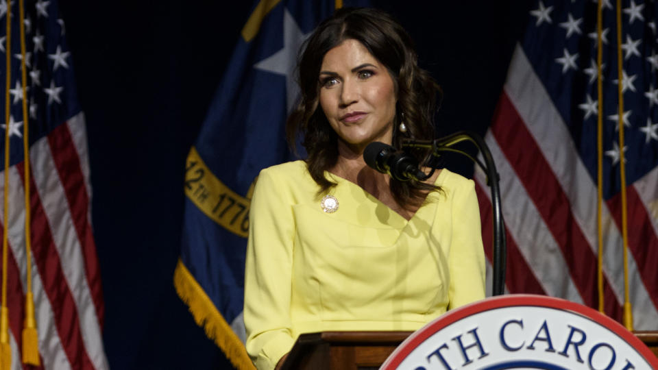 South Dakota Gov. Kristi Noem speaks to attendees at the North Carolina GOP convention on June 5, 2021 in Greenville, North Carolina. (Melissa Sue Gerrits/Getty Images)