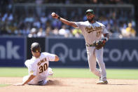 Oakland Athletics shortstop Elvis Andrus (17) prepares to throw to first to attempt a double play after forcing out Eric Hosmer (30) at second base on a ball hit by Adam Frazier during the sixth inning of a baseball game Wednesday, July 28, 2021, in San Diego. (AP Photo/Derrick Tuskan)