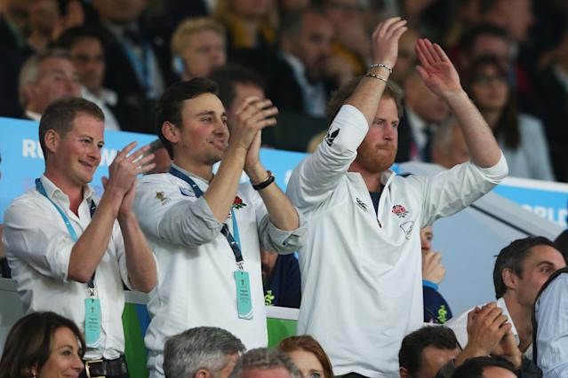 Prince Harry at the 2015 Rugby World Cup Pool A match between England and Australia at Twickenham Stadium on October 3, 2015. (Getty Images)
