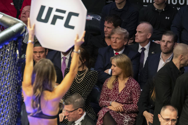 President Donald Trump looks on during UFC 244 mixed martial arts fights, Saturday, Nov. 2, 2019, in New York. (AP Photo/ Evan Vucci)