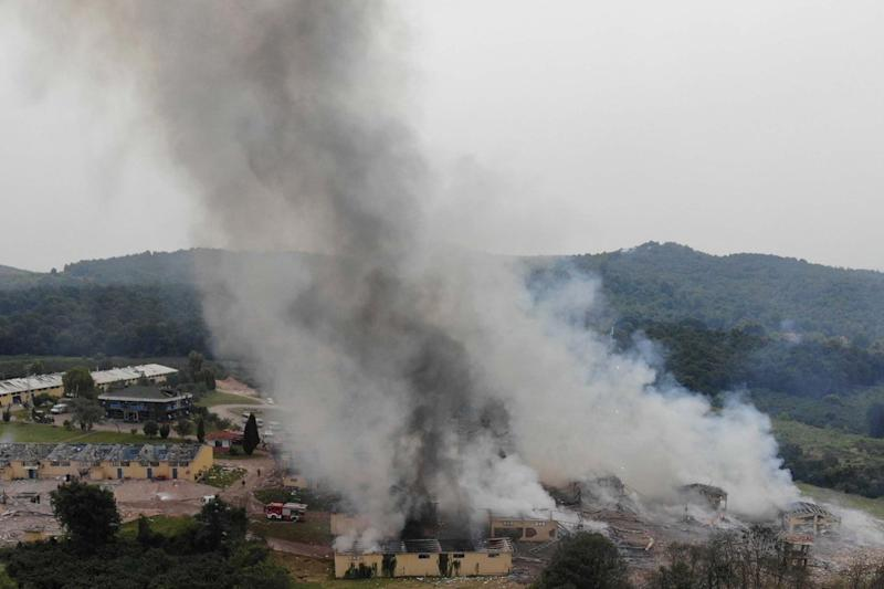 Smoke billows from a fire following an explosion at a fireworks factory in Turkey: AP