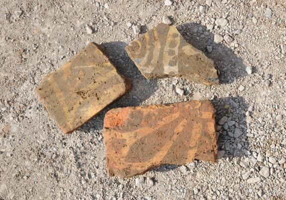 Inlaid floor tiles unearthed from the Greyfriars church site.