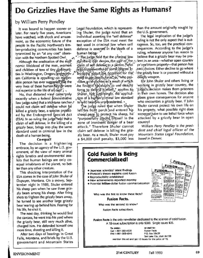 An article by William Perry Pendley in the Fall 1993 issue of 21st Century Science & Technology. (Photo: Screenshot/21st Century Science & Technology)
