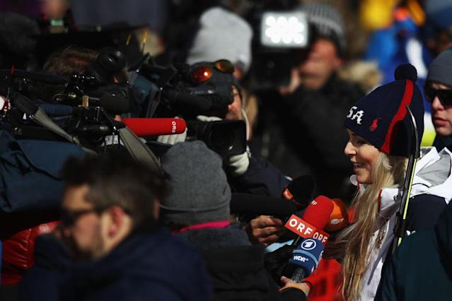 Lindsey Vonn in the Mixed Zone. (Getty)