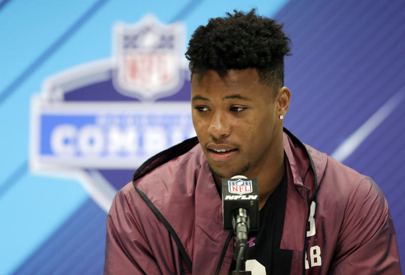 Penn State running back Saquon Barkley speaks during a press conference at the NFL scouting combine. (AP)
