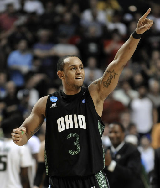 Ohio guard Walter Offutt celebrates after Ohio's 62-56 win over South Florida in a third-round NCAA college basketball tournament game on Sunday, March 18, 2012, in Nashville, Tenn. (AP Photo/Donn Jones)