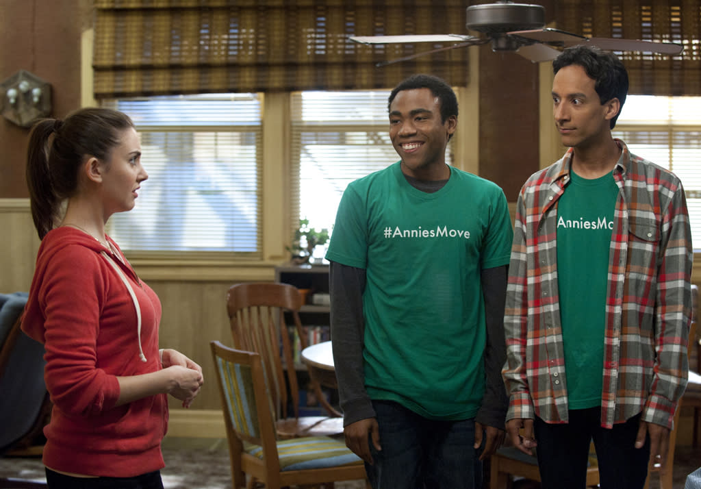 """<p><b>5. Abed, Troy, & Annie (""""<a href=""""http://tv.yahoo.com/community/show/44719"""">Community</a>"""")</b><br><br>  They aren't the most natural of roommates (Abed and Troy initially didn't want to give up their virtual playroom so Annie could have a place to sleep), but they've worked things out well. And while it is a potentially awkward living situation, putting the prim and proper girl with the two nerds definitely keeps us laughing. If only we could see more of them at home and not just at school. </p>"""