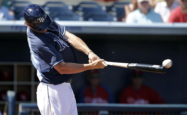 Tampa Bay Rays' Wil Myers lines out off a pitch by Philadelphia Phillies Roberto Hernandez in the second inning an exhibition baseball game, Monday, March 3, 2014, in Port Charlotte, Fla. The Rays won 6-1. (AP Photo/Steven Senne)