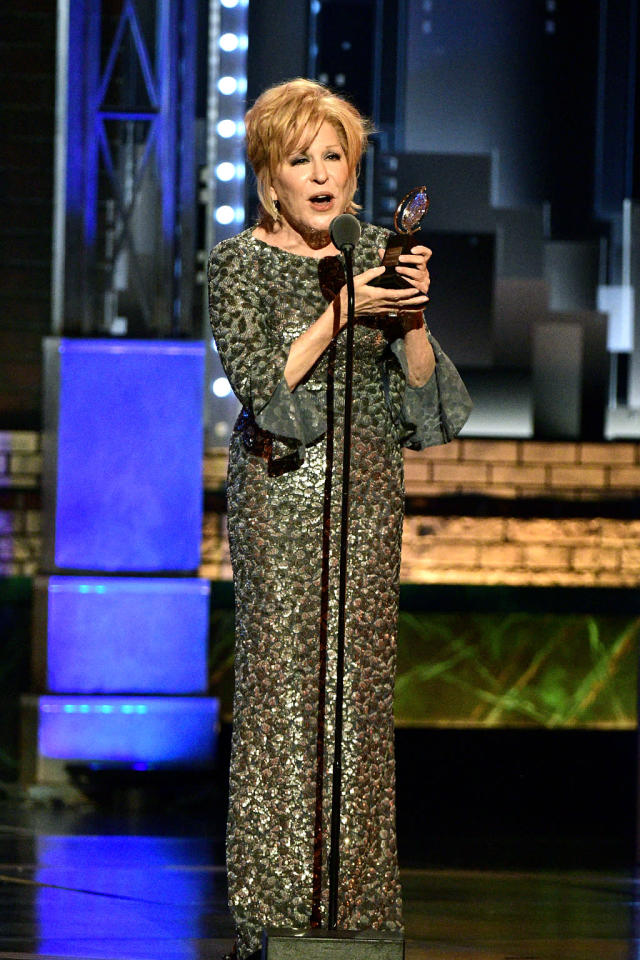 """<p>The <a href=""""https://www.yahoo.com/celebrity/is-bette-midler-the-sassiest-broad-on-twitter-233550432.html"""" data-ylk=""""slk:always sassy"""" class=""""link rapid-noclick-resp"""">always sassy</a> Divine Miss M won the Tony Awards — and not just the trophy for best leading actress in a musical for <i>Hello, Dolly!</i> It happened during her acceptance speech, as the orchestra began to play her off and she said, """"Shut that crap off!"""" (Photo: John Paul Filo/CBS via Getty Images) </p>"""