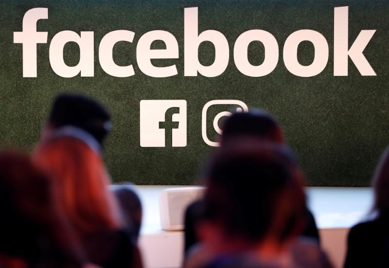 A Facebook logo is seen at the Facebook Gather conference in Brussels, Belgium, January 23, 2018. REUTERS/Yves Herman/Files