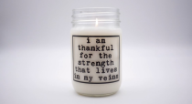 "<p>shanticreationsnyc.com</p><p><strong>$30.00</strong></p><p><a href=""https://www.shanticreationsnyc.com/product-page/i-am-thankful-for-the-strength-coconut-wax-candle"" rel=""nofollow noopener"" target=""_blank"" data-ylk=""slk:Shop Now"" class=""link rapid-noclick-resp"">Shop Now</a></p><p>Hand poured with love, this candle features a motivational quote and is made from essential oils that come in several soothing and uplifting scents. And, as part of the #standupforchange initiative, the company donates 10 percent of profits of this candle to the <a href=""https://www.thehotline.org/"" rel=""nofollow noopener"" target=""_blank"" data-ylk=""slk:National Domestic Violence hotline"" class=""link rapid-noclick-resp"">National Domestic Violence hotline</a>.</p>"