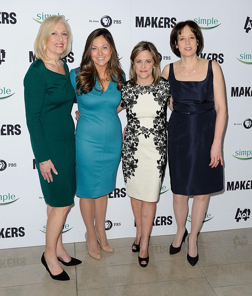 "Paula Kerger, Maureen Sullivan, Dyllan Mcgee and guest arrive at ""MAKERS: Women Who Make America"" New York Premiere at Alice Tully Hall on February 6, 2013 in New York City."