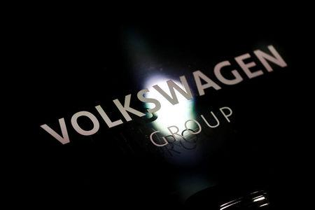 FILE PHOTO: Volkswagen sign is seen during the annual earnings news conference of VW in Berlin in Berlin