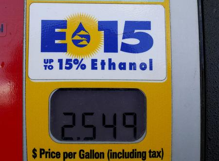 FILE PHOTO: A gas pump displays the price for E15, a gasoline with 15 percent of ethanol, at a gas station in Nevada, Iowa, United States, May 17, 2015.  REUTERS/Jim Young/File Photo