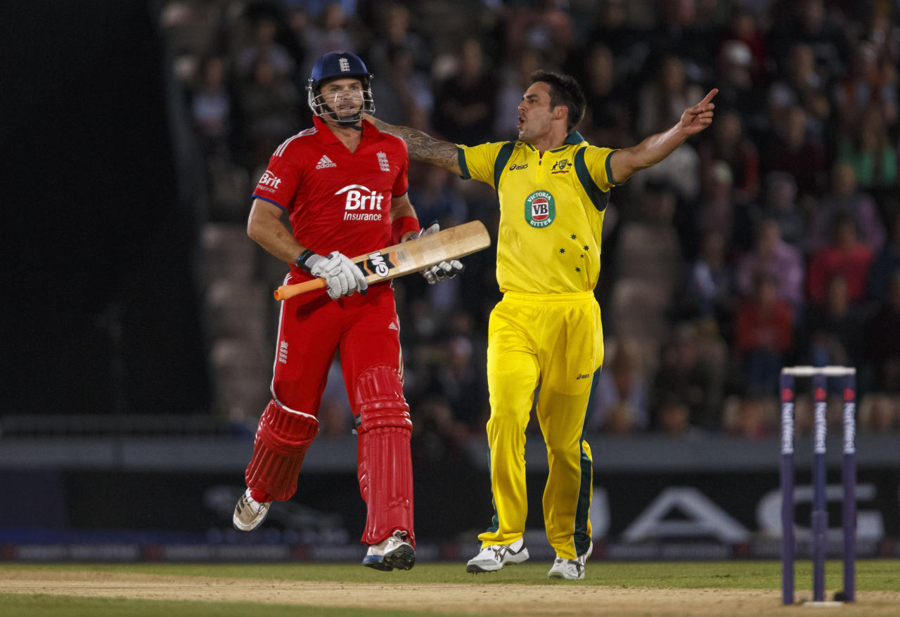 England's Michael Lumb is trapped lbw by Australia's Mitchell Johnson during the International Twenty20 match at the Ageas Bowl, Southampton.