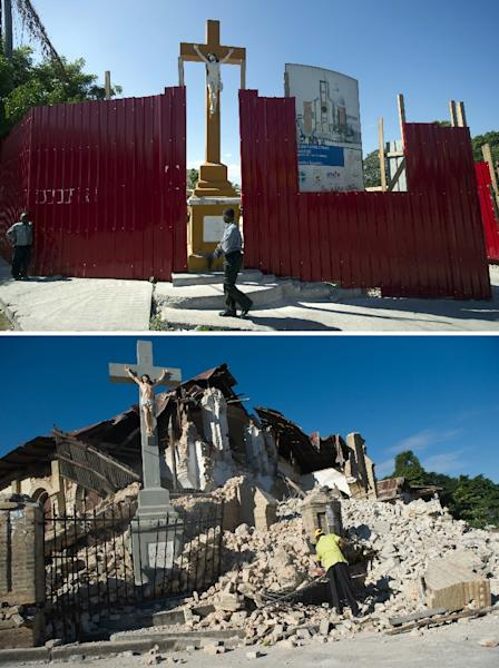 The Sacre Coeur Church in Port-au-Prince, on December 29, 2014 (top) and the church on January 14, 2010, two days after it was destroyed by the eartkquake (bottom) (AFP Photo/)