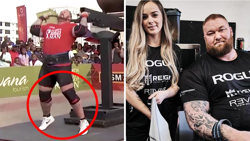 A 50/50 split images shows Hafthor Bjornsson competing at the 2017 World's Strongest Man competition, next to an image of him next to his partner.