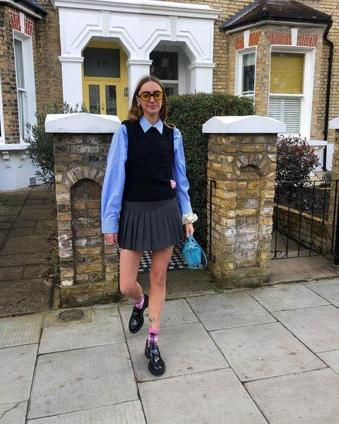"""<p>We are pretty obsessed with this uniform-perfect outfit of tennis skirt, loafers, shirt and vest. </p><p><a class=""""link rapid-noclick-resp"""" href=""""https://go.redirectingat.com?id=127X1599956&url=https%3A%2F%2Fwww.net-a-porter.com%2Fen-gb%2Fshop%2Fproduct%2Fprada%2Fembellished-pleated-econyl-mini-skirt%2F1277434&sref=https%3A%2F%2Fwww.elle.com%2Fuk%2Ffashion%2Fg36129428%2Fspring-outfits%2F"""" rel=""""nofollow noopener"""" target=""""_blank"""" data-ylk=""""slk:SHOP TENNIS SKIRT NOW"""">SHOP TENNIS SKIRT NOW</a></p><p><a href=""""https://www.instagram.com/p/CMkcy6igIVG/"""" rel=""""nofollow noopener"""" target=""""_blank"""" data-ylk=""""slk:See the original post on Instagram"""" class=""""link rapid-noclick-resp"""">See the original post on Instagram</a></p>"""