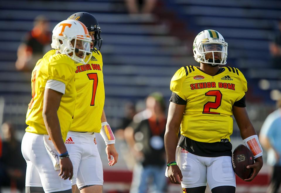 Tennessee's Josh Dobbs (11), Cal's Davis Webb (7), and Tiffin's Antonio Pipkin (2) have work to do as NFL prospects. (AP)