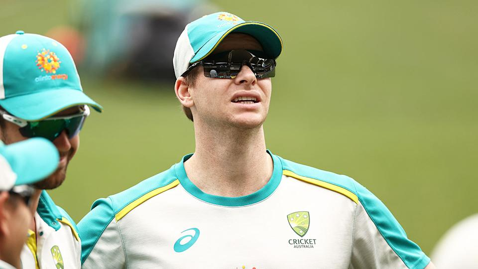 Pictured here, Steve Smith stands with teammates during an Australian training session.