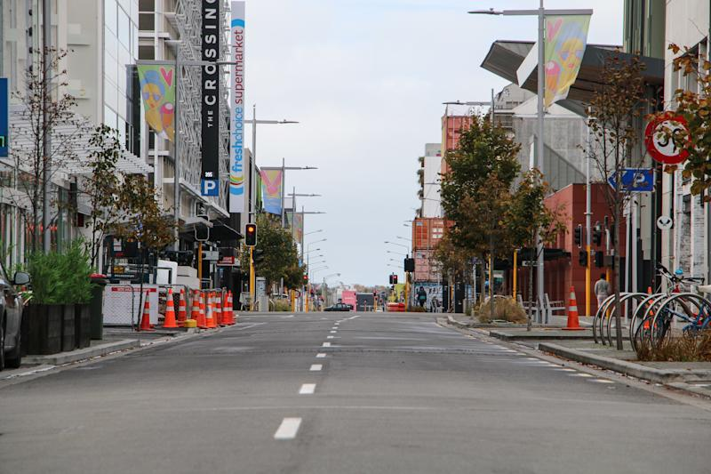 A view of an empty street in Christchurch due to coronavirus lockdown.