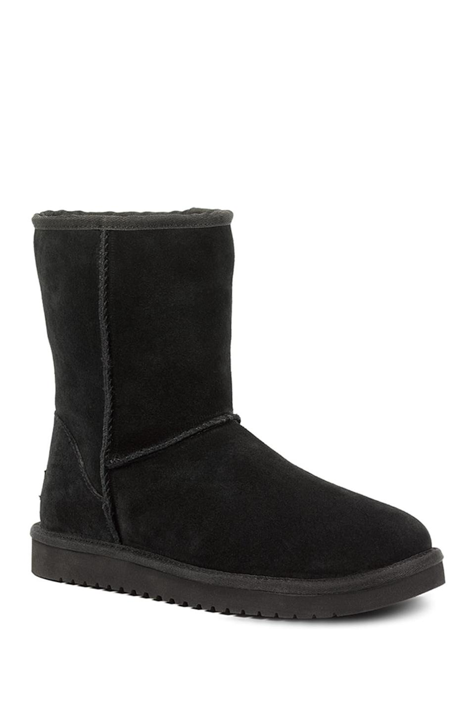 """<br><br><strong>Koolaburra by Ugg</strong> Classic Short Genuine Shearling & Faux Fur Lined Boot, $, available at <a href=""""https://go.skimresources.com/?id=30283X879131&url=https%3A%2F%2Fwww.nordstromrack.com%2Fs%2Fkoolaburra-by-ugg-classic-short-genuine-shearling-faux-fur-lined-boot-wide-width-available%2Fn2309010"""" rel=""""nofollow noopener"""" target=""""_blank"""" data-ylk=""""slk:Nordstrom Rack"""" class=""""link rapid-noclick-resp"""">Nordstrom Rack</a>"""