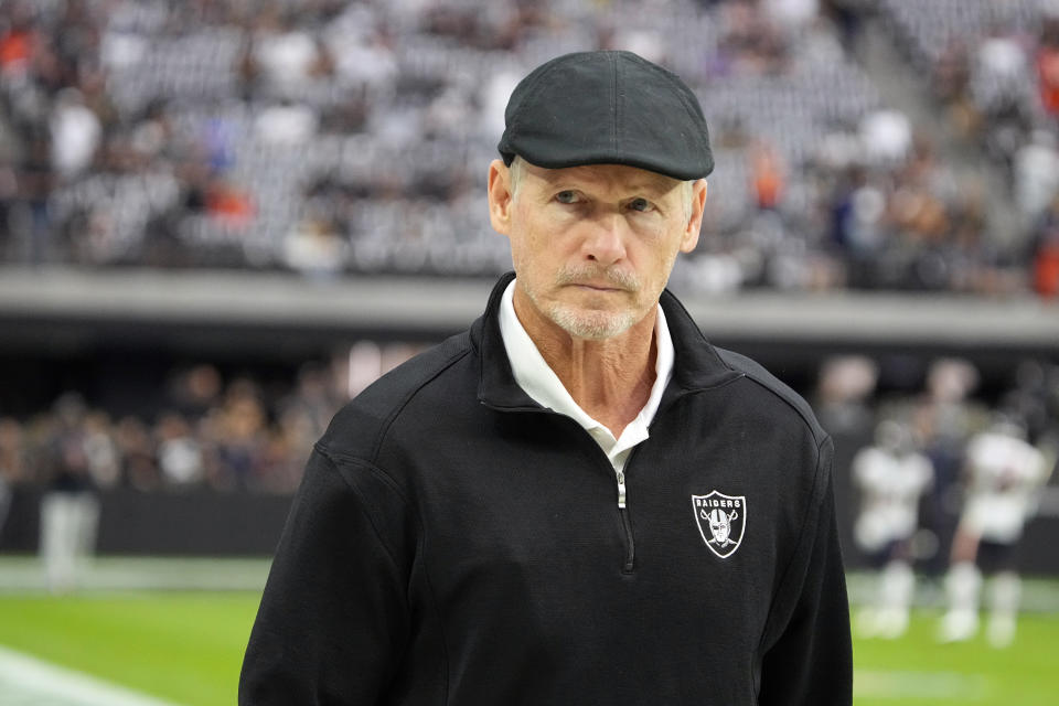 The future of Raiders general manager Mike Mayock is up in the air. (AP Photo/Rick Scuteri)