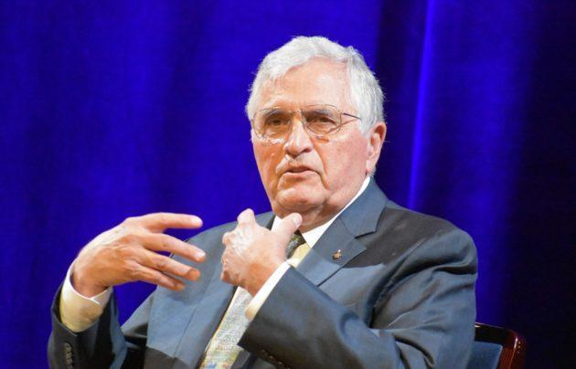 "Apollo 17 astronaut Harrison Schmitt speaks at an ""Apollo Plus 50"" session during the ScienceWriters 2018 conference in Washington, D.C. (GeekWire Photo / Alan Boyle)"