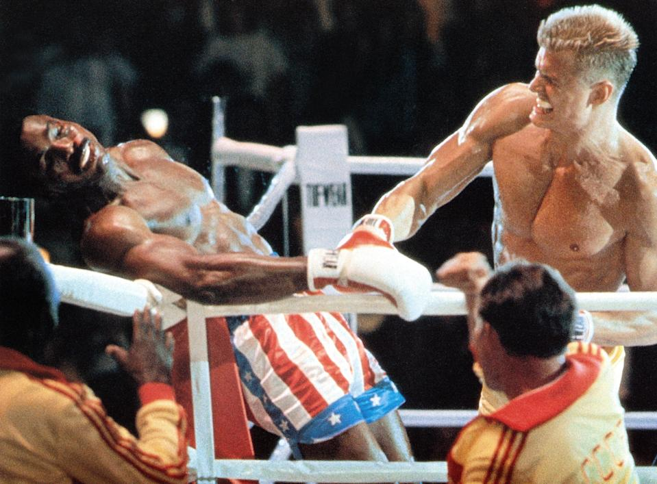 Apollo Creed (Carl Weathers) meets his brutal end at the fists of Ivan Drago (Dolph Lundgren) in <em>Rocky IV</em>. (Photo: United Artists/Courtesy Everett Collection)