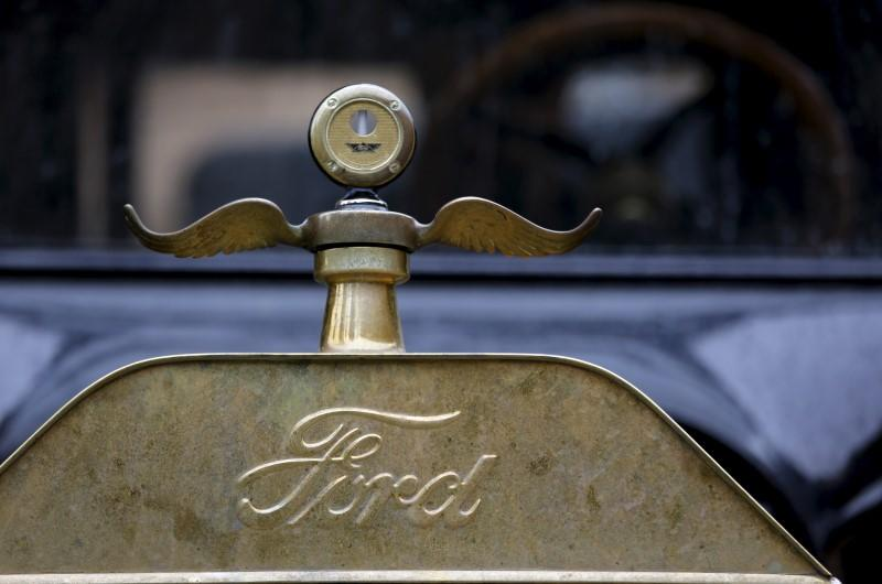 The logo and hood ornament of a 1915 Ford Model T is seen after it arrived from Detroit at the Palace of Fine Arts in San Francisco