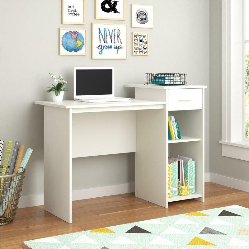 Brynn Desk and shelving unit combination in white.