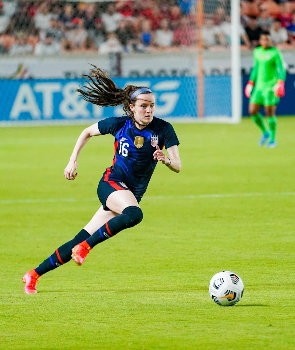 <p><strong>Position:</strong> midfielder</p> <p><strong>Hometown:</strong> Cincinnati </p> <p><strong>Club:</strong> OL Reign</p> <p>Lavelle is known for her quick footwork and was a powerhouse for the USWNT in the 2019 World Cup, scoring three goals. She'll be making her Olympic debut this summer.</p>