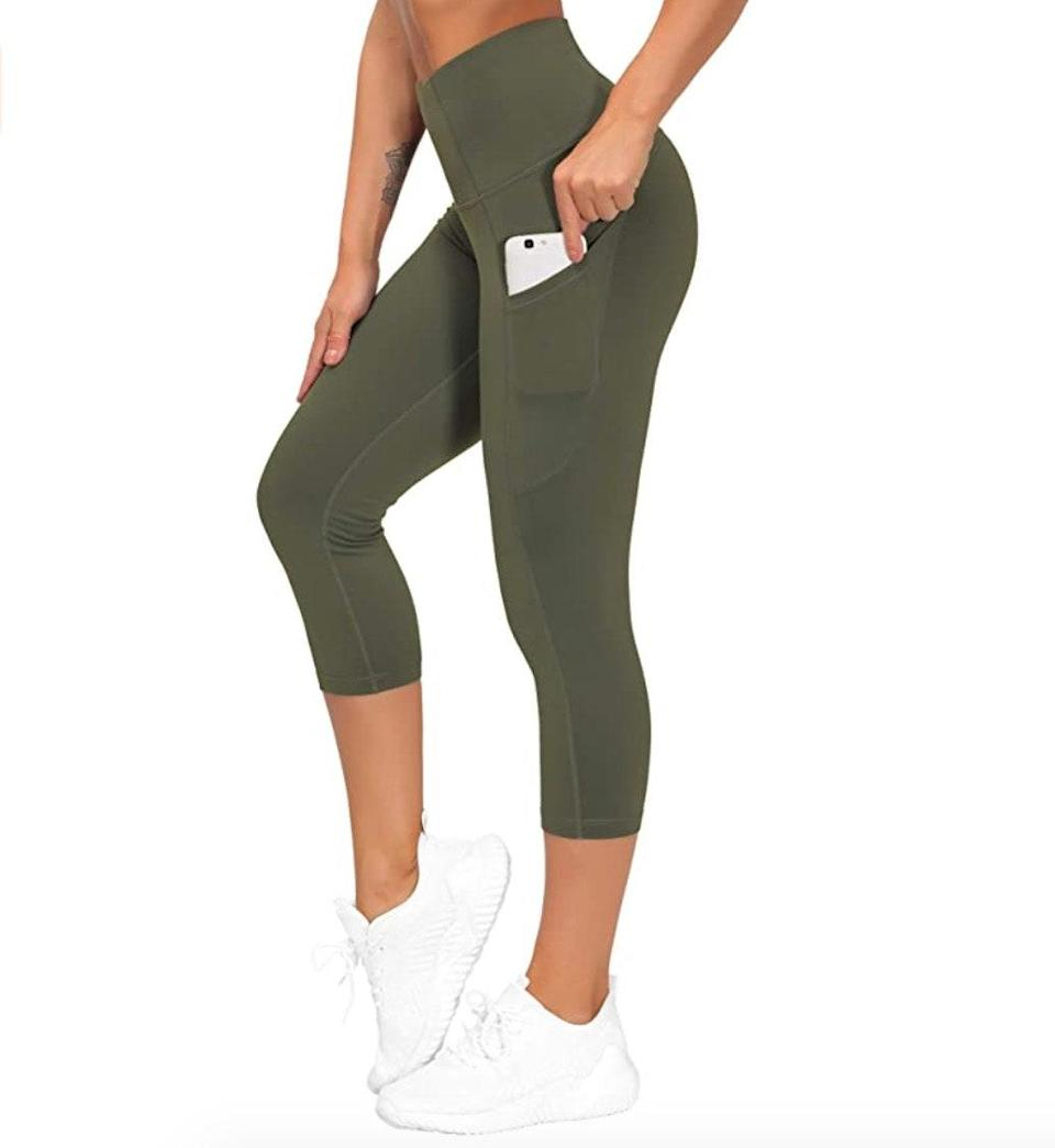 """<p><strong>Reviews & rating:</strong> 18,328 reviews, 4.5 out of 5 stars.</p> <p><strong>Key selling points:</strong> According to reviews, these compression leggings offer <em>just</em> the right amount of stretch — they're ideal for working out and lounging around the house. Plus, reviewers can't get enough of the large side pockets — they're supposedly big enough to fit a full-size wine bottle without slipping.</p> <p><strong>What customers say:</strong> """"I've purchased three pairs of these leggings — they are my favorite. The stretch is great put they still hold you in. These are compression leggings, but they're breathable despite the thickness of the material. I'm super impressed that they don't show sweat marks — I ran five miles in them the first time and didn't have to pull or tug on them at all."""" —<a href=""""https://amzn.to/3v7fPIn"""" rel=""""nofollow noopener"""" target=""""_blank"""" data-ylk=""""slk:Saviranna"""" class=""""link rapid-noclick-resp""""><em>Saviranna</em></a><em>, reviewer on Amazon</em></p> $22, Amazon. <a href=""""https://www.amazon.com/GYM-PEOPLE-Pockets-Control-Leggings/dp/B0874LTH4C/ref="""" rel=""""nofollow noopener"""" target=""""_blank"""" data-ylk=""""slk:Get it now!"""" class=""""link rapid-noclick-resp"""">Get it now!</a>"""