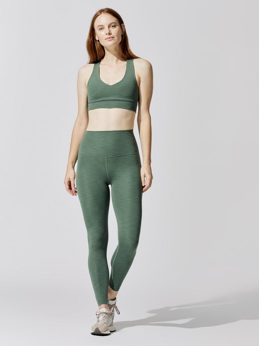 <p>This <span>Beyond Yoga Remix Bralette</span> ($68) and <span>Heather Rib High Waisted Midi Legging</span> ($99) is buttery soft and perfect for lounging.</p>