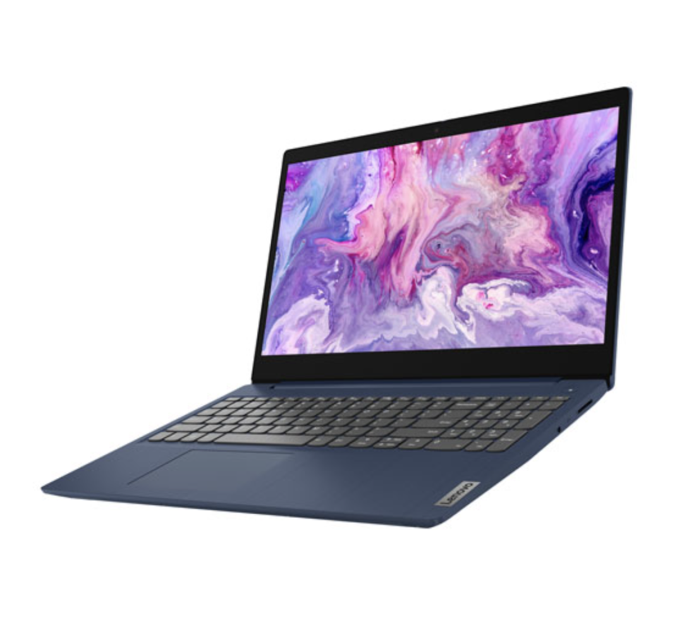 lenovo ideapad laptop photographed at an angle with purple swirl background