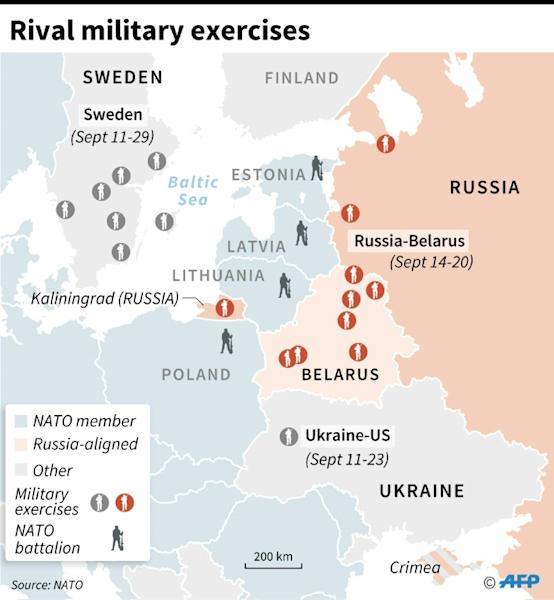 Map of eastern Europe locating three distinct sets of military exercises along with countries that host NATO battalions