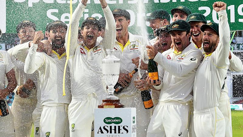 Pictured here, Australia celebrates retaining the Ashes in 2019.