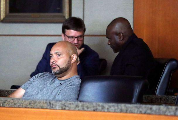 PHOTO: Former Houston police officers Steven Bryant, foreground, and Gerald Goines, background, turn themselves in at the Civil Courthouse, Friday, August 23, 2019, in Houston. (Karen Warren/Houston Chronicle via AP)