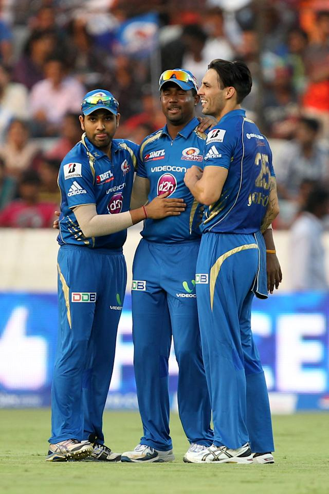 Rohit Sharma, Dwayne Smith and Mitchell Johnson celebrates wicket of Akshath Reddy during match 43 of the Pepsi Indian Premier League between The Sunrisers Hyderabad and Mumbai Indians held at the Rajiv Gandhi International  Stadium, Hyderabad  on the 1st May 2013Photo by Prashant Bhoot-IPL-SPORTZPICS  Use of this image is subject to the terms and conditions as outlined by the BCCI. These terms can be found by following this link:https://ec.yimg.com/ec?url=http%3a%2f%2fwww.sportzpics.co.za%2fimage%2fI0000SoRagM2cIEc&t=1500735395&sig=UwP7Lc_dhc_aUEwUG5eA3w--~C