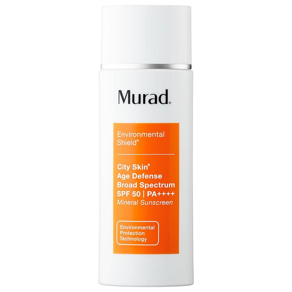 """<p><strong>Murad</strong></p><p>sephora.com</p><p><strong>$68.00</strong></p><p><a href=""""https://go.redirectingat.com?id=74968X1596630&url=https%3A%2F%2Fwww.sephora.com%2Fproduct%2Fcity-skin-age-defense-broad-spectrum-spf-50-pa-P417980&sref=https%3A%2F%2Fwww.prevention.com%2Fbeauty%2Fskin-care%2Fg27632513%2Fbest-sunscreen-for-acne%2F"""" rel=""""nofollow noopener"""" target=""""_blank"""" data-ylk=""""slk:SHOP NOW"""" class=""""link rapid-noclick-resp"""">SHOP NOW</a></p><p>Dr. Engelman says this is a great <a href=""""https://www.prevention.com/beauty/skin-care/g27091122/best-sunscreen-for-dark-skin-tones/"""" rel=""""nofollow noopener"""" target=""""_blank"""" data-ylk=""""slk:sunscreen for darker skin tones"""" class=""""link rapid-noclick-resp"""">sunscreen for darker skin tones</a>, since it <strong>doesn't leave behind that white cast that SPF is notorious for</strong>. The fragrance-free, mineral formula is also a safe bet for acne-prone skin, thanks to its weightless feel and non-greasy finish. A slight peach tint works to color-correct the skin, while the addition of <a href=""""https://www.prevention.com/beauty/a20480854/best-vitamin-c-serums/"""" rel=""""nofollow noopener"""" target=""""_blank"""" data-ylk=""""slk:vitamin C"""" class=""""link rapid-noclick-resp"""">vitamin C</a> boosts antioxidant protection and gives a healthy glow.</p>"""