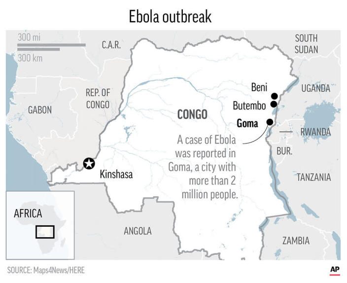The Ebola outbreak spread this week to the eastern Congo city of Goma, with more than 2 million people, near the Rwanda border. ;
