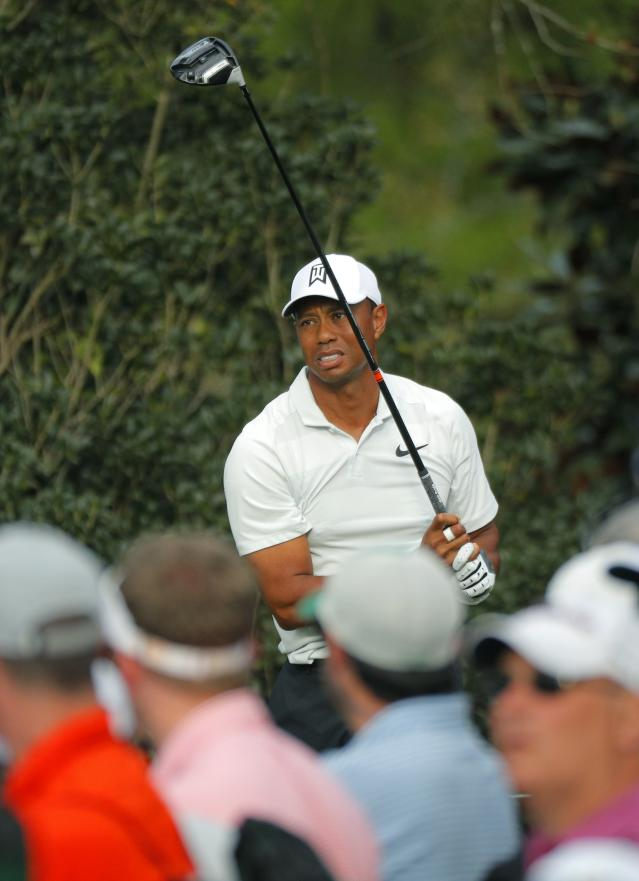 Tiger Woods of the U.S. watches his drive off the 15th tee during second round play of the 2018 Masters golf tournament at the Augusta National Golf Club in Augusta, Georgia, U.S., April 6, 2018. REUTERS/Brian Snyder