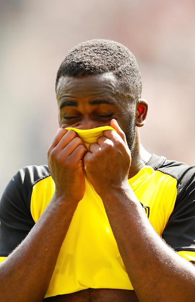 "Soccer Football - Championship - Preston North End vs Burton Albion - Deepdale, Preston, Britain - May 6, 2018 Burton Albion's Hope Akpan looks dejected at full time Action Images/Jason Cairnduff EDITORIAL USE ONLY. No use with unauthorized audio, video, data, fixture lists, club/league logos or ""live"" services. Online in-match use limited to 75 images, no video emulation. No use in betting, games or single club/league/player publications. Please contact your account representative for further details."